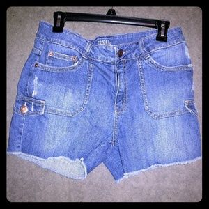 Distressed blue jean shorts